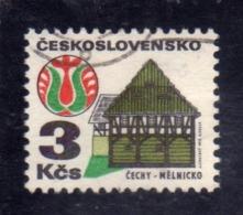 CZECHOSLOVAKIA CESKOSLOVENSKO CECOSLOVACCHIA 1971 1972 HOUSE AND FOLK ART MELNIK 3k USED USATO OBLITERE' - Cecoslovacchia