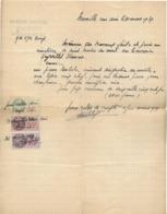 FACTURE POUR PIERRE TOMBALE MARBRERIE SCULPTURE  FELIX CHÊNE NEUVILLE SUR AIN 01 1939 TIMBRES FISCAUX - Petits Métiers