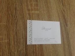 Carte De Visite De Restaurant  Drouant  Paris - Cartoncini Da Visita
