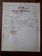 L24/108 Ancienne Facture. Charolles. Fabrique De Voitures. Besson - Balandras. 1905 - 1900 – 1949