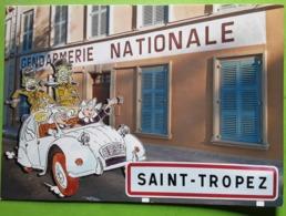 ST SAINT TROPEZ,  Var, Gendarmerie Nationale, PHOTO Montage Auto 2 CV CITROEN ,religieuses Et Gendarme Du Film, TB - Saint-Tropez