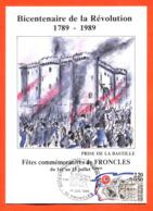 """Carte Maximum Froncles Bicentenaire De La Révolution 14 Juillet 1989 """" Prise De La Bastille """" - 1980-89"""