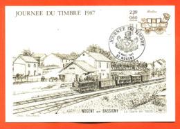 """Carte Maximum Nogent En Bassigny Journée Du Timbre 14 Mars 1987 """" La Gare En 1905 """" - Cartas Máxima"""