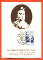"""Carte Maximum Andelot Blancheville Traité D'andelot 28 Novembre 1987 """" Brunehaut Reine D'australie """" - Cartas Máxima"""