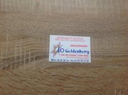 Ancienne De Carte De Visite De Restaurant Traiteur  JO GOLDENBERG    Paris - Cartoncini Da Visita
