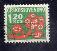 CZECHOSLOVAKIA CESKOSLOVENSKO CECOSLOVACCHIA 1971 1972 POSTAGE DUE STAMPS TASSE STYLIZED FLOWER1.20k USED USATO OBLITERE - Segnatasse