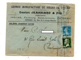 Lettre Flamme Paris 21 Utilisez Poste Aerienne Entete Manufacture Siege - Postmark Collection (Covers)