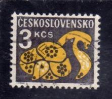 CZECHOSLOVAKIA CESKOSLOVENSKO CECOSLOVACCHIA 1971 1972 POSTAGE DUE STAMPS TASSE STYLIZED FLOWER 3k USED USATO OBLITERE - Segnatasse