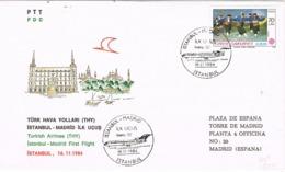 34110. Carta Aerea First Flight ISTAMBUL (Turquia) A MADRID (Spain) 1984. Boeing 727 - Corréo Aéreo