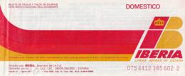 PASSENGER TICKET - BILLETE DE PASAJE / IBERIA DOMESTICO 1990 - BARCELONA MENORCA BARCELONA - Tiquetes Aéreos