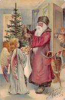 NOEL  - Joyeux Noel  - Pere Noel Offrant Cadeau A Jeune Fille Aux Ailes D'anges( Gauffrée ) état - Weihnachten