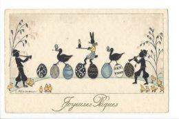 22439 -  Joyeuses Pâques  Illustrateur Husmann Mucisiens Lapin Oies Pittius 1946 - Easter