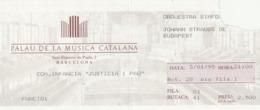 """TICKET - ENTRADA / PALAU MUSICA CATALANA 1995 - COM.INFANCIA """"JUSTICIA I PAU"""" - Tickets - Entradas"""