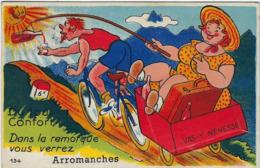 14  Arromanches Carte A Systeme Avec Depliant 10 Vues  Dans La Remorque - Arromanches