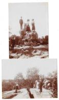 FONTAINEBLEAU FRANCHARD (77) 2 Photographies Excursionnistes Animations 1909 - Fontainebleau