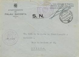 34114. Carta S.N. Franquicia Juzgado De Paz PALAU SACOSTA (Gerona) 1959. Fechador Llegada Gerona - 1931-Hoy: 2ª República - ... Juan Carlos I