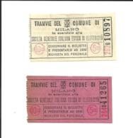 2 Tickets Anciens. Tramvie Del Comune Di MILANO. Voir Description - Tranvías