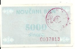 BOSNIE HERZEGOVINE 5000 DINARA ND1992 VF P 51 - Bosnia Erzegovina