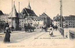 A-19-5076 :  BASEL. ALTE RHEINBRÜCKE MIT GROSS-BASLER-SEITE. - BS Basel-Stadt