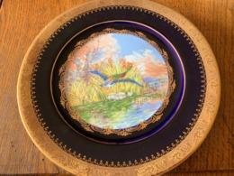 """Assiette Porcelaine Limoges Castel """"Gold Décor Cobalt - Paysage D'hiver - Canard Sauvage - Arte Popolare"""