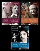Portugal 2019 Mih. 4523/25 Music. Musician Clara Schumann. Composer Jacques Offenbach. Ballerina Margot Fonteyn MNH ** - 1910-... Republik