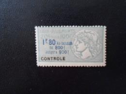 FRANCE  YT 9 TIMBRE FISCAL TAXE SUR LES PAIEMENTS 1f.80 Vert** - Revenue Stamps