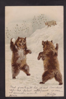 CPA Ours Position Humaine Circulé Paillettes Relief - Bears