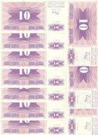 BOSNIE HERZEGOVINE 10 DINARA 1992 UNC P 10 ( 10 Billets ) - Bosnia Erzegovina