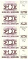 BOSNIE-HERZEGOVINE 500 DINARA 1992 UNC P 14 ( 5 Billets ) - Bosnie-Herzegovine