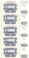 BOSNIE-HERZEGOVINE 1000 DINARA 1992 UNC P 15 ( 5 Billets ) - Bosnia Erzegovina
