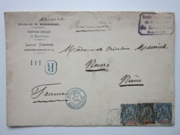 Mr MUNICH, GREFFIER-NOTAIRE à MAJUNGA MADAGASCAR Enveloppe à Entête Recommandée 3 Timbres Sage 15c Oblitéré Le 2/10/1899 - Madagascar (1960-...)