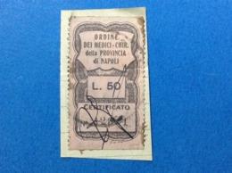 MARCA DA BOLLO STEMPELMARKE FISCAUX REVENUE 50 LIRE ORDINE DEI MEDICI CHIR NAPOLI - 4. 1944-45 Repubblica Sociale