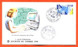 """Enveloppe 1er Jour Bourbonne Les Bains Journée Du Timbre 17 Mars 1990 """" Les Services Financiers De La Poste """" - FDC"""