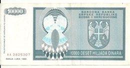 BOSNIE HERZEGOVINE 10000 DINARA 1992 VF P 139 - Bosnia And Herzegovina