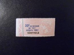 FRANCE  YT 1 TIMBRE FISCAL TAXE SUR LES PAIEMENTS 20c. Rose BORD DE FEUILLE** - Revenue Stamps
