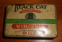 BLACK CAT VIRGINIA CIGARETTES  BOX METAL  7CM Br  11CM L 3,5CM H - Empty Tobacco Boxes