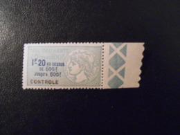 FRANCE  YT 6 TIMBRE FISCAL TAXE SUR LES PAIEMENTS 1f.20 Vert BORD DE FEUILLE** - Revenue Stamps