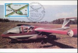 47710 Italia, Maximum 1983, Airplane Caproni C22j Postmark Vizzola Ticino Varese - Airplanes