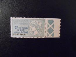 FRANCE  YT 10 TIMBRE FISCAL TAXE SUR LES PAIEMENTS 2f Vert BORD DE FEUILLE** - Revenue Stamps