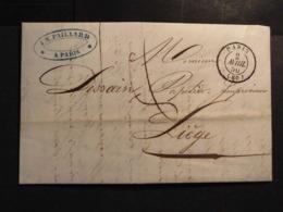 Frankreich Vorphilabrief+viel Inhalt 2.4.1850 DK Paris Nach Liege-Belgien - France