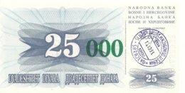 BOSNIE HERZEGOVINE 25000 DINARA 1993 UNC P 54 E - Bosnia Erzegovina