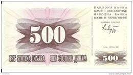 BOSNIE-HERZEGOVINE 500 DINARA 1992 UNC P 14 - Bosnia Erzegovina