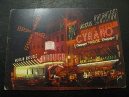 France Unused Postcard Clean Mexichrome Paris Moulin Rouge NIGHT - Paris By Night
