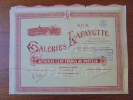 FRANCE - PARIS 1922 6 GALERIES LAFAYETTE - ACTION 100 FRS - BELLE VIGNETTE - ETAT MOYEN, VOIR SCAN - Aandelen