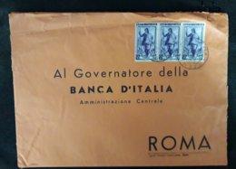 Italia 1952 Storia Postale Italia Al Lavoro Trittico L.50 Su Busta  Banca D'Italia Da Vicenza Al Governatore Roma - 1946-.. République