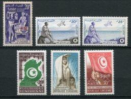14936 TUNISIE N° 448, 449/50, 451/3 ** Foire De Tunis, Exil De Bourguiba, 2é. Anniversaire De L'Indépendance 1957-58 TB - Tunisie (1956-...)