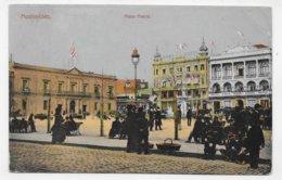 (RECTO / VERSO) URUGUAY - MONTEVIDEO EN 1913 - PIAZZA MATRIZ ANIMEE - CACHET POSTED ON THE HIGHT SEAS - CPA VOYAGEE - Uruguay