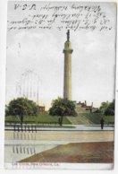 (RECTO / VERSO) NEW ORLEANS EN 1910 - LEE CIRCLE - PLI DIAGONAL A GAUCHE - CPA VOYAGEE - New Orleans