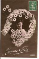 L80b207 - Joyeuse Fête - Visage De Femme Dans Un Fer à Cheval De Marguerites - UDD N°332 - Autres