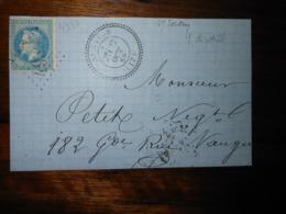Fragment Lettre Avec GC 4939 Saint Satur Cher - 1849-1876: Période Classique